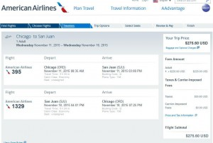 Chicago-San Juan American Airlines Booking Page