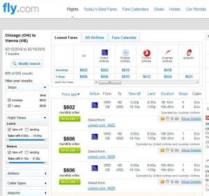 Chicago-Vienna: Fly.com Search Results