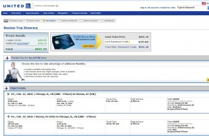 Chicago-Vienna: United Booking Page