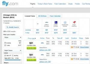 Chicago to Boston: Fly.com Results