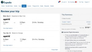 Chicago to NYC: Expedia Booking Page