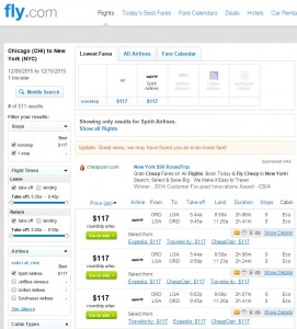 Chicago to NYC: Fly.com Results