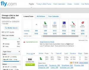 Chicago to San Francisco: Fly.com Results