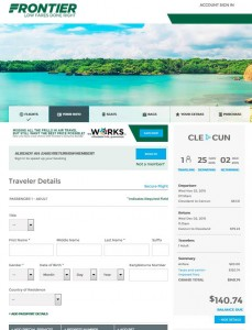 Cleveland-Cancun: Frontier Airlines Booking Page