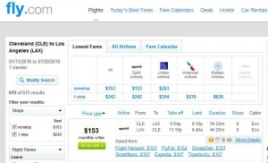 Cleveland-Los Angeles: Fly.com Search Results