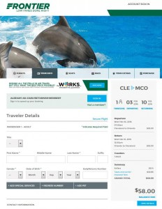 Cleveland-Orlando: Frontier Airlines Booking Page