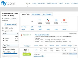 D.C. to Nassau, Bahamas: Fly.com Results
