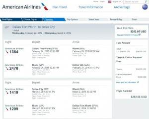 Dallas-Belize City: American Airlines Booking Page