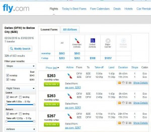 Dallas-Belize City: Fly.com Search Results