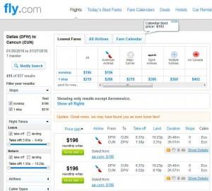 Dallas-Cancun: Fly.com Search Results