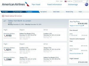 Dallas-London: American Airlines Booking Page