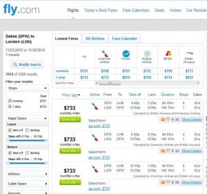 Dallas-London: Fly.com Search Results