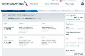 Dallas-Los Cabos: American Airlines Booking Page