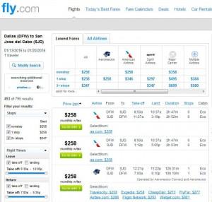 Dallas-Los Cabos: Fly.com Search Results