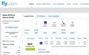 Dallas-Maui: Fly.com Search Results
