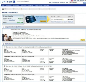Dallas-Maui United Airlines Booking Page