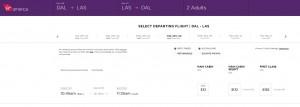 Dallas to Las Vegas: Virgin America Results Page