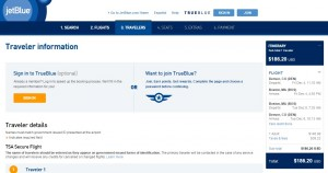 Denver to Boston: JetBlue Booking Page