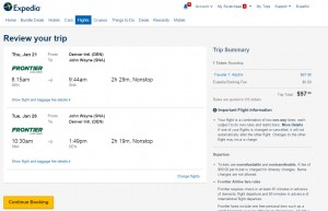 Denver to Orange County: Expedia Booking Page