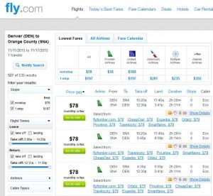 Denver to Orange County: Fly.com Results