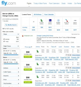 Denver to Orange County: Fly.com Results