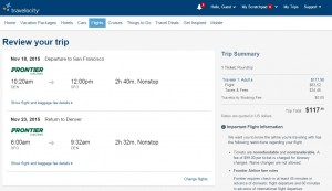 Denver to San Francisco: Travelocity Booking Page