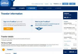 Detroit-Fort Lauderdale: JetBlue Booking Page