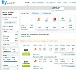 Detroit-Malaga: Fly.com Search Results