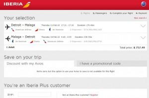 Detroit-Malaga: Iberia Booking Page