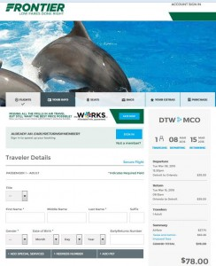 Detroit-Orlando: Frontier Airlines Booking Page