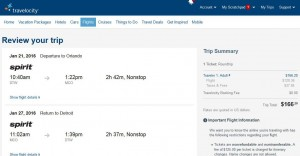 Detroit-Orlando: Travelocity Booking Page