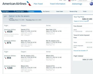 Detroit-Rio de Janeiro: American Airlines Booking Page