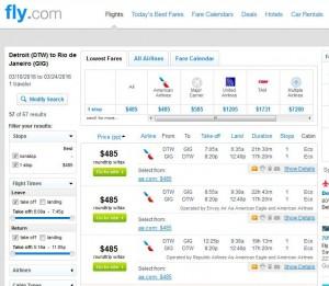 Detroit-Rio de Janeiro: Fly.com Search Results