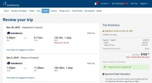 Houston-Cancun: Travelocity Booking Page