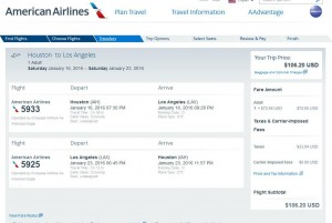 Houston-Los Angeles: American Airlines Booking Page