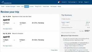 Houston-Los Cabos: Travelocity Booking Page