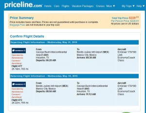 Houston-Mexico City: Priceline Booking Page