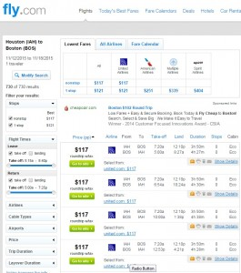 Houston to Boston: Fly.com Results