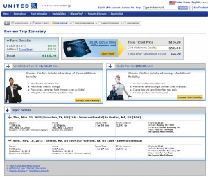 Houston to Boston: United Booking Page