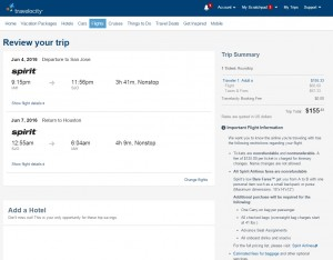 Houston to Costa Rica: Travelocity Booking Page