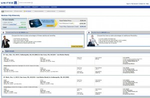 Indianapolis-San Juan: United Airlines Booking Page