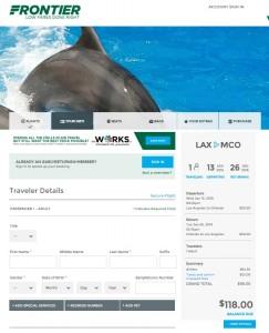 LA to Orlando: Frontier Booking Page
