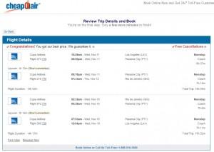 LA to Rio de Janeiro: CheapOair Booking Page