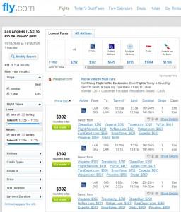 La to Rio de Janeiro: Fly.com Results