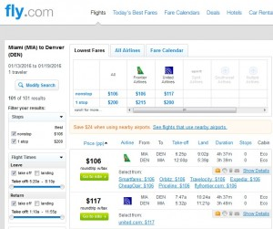 Miami to Denver: Fly.com Results