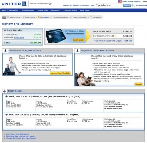 Miami to Denver: United Booking Page