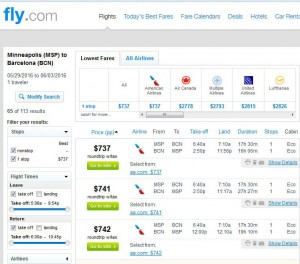 Minneapolis-Barcelona: Fly.com Search Results