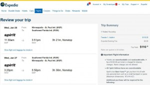 Minneapolis-Fort Myers: Expedia Booking Page