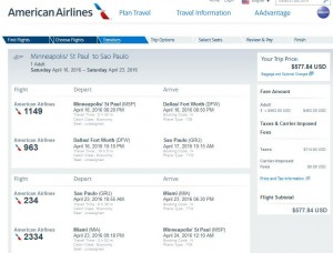 Minneapolis-Sao Paulo: American Airlines Booking Page