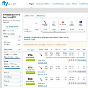 Minneapolis-Sao Paulo: Fly.com Search Results